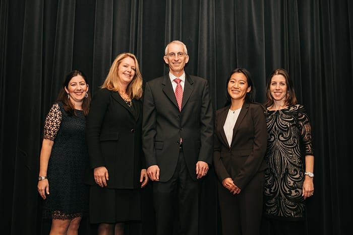 <p>Randi Stanley and Lori Shaer with the 2016 Sherman Prize Recipients</p>