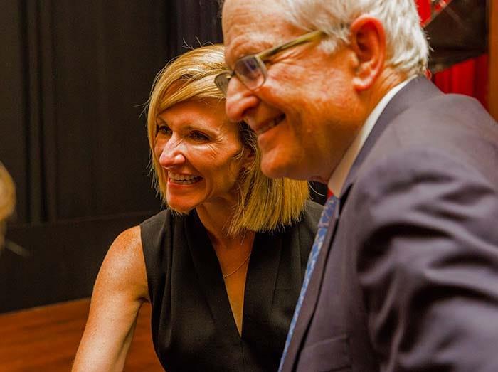 <p>Physician Assistant Heidi Drescher and Dr. Stephan Targan</p>