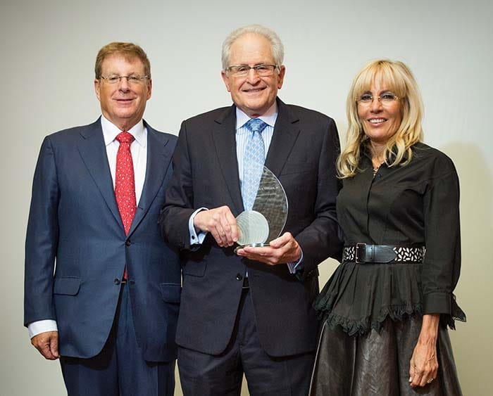 <p>Dr. Stephan Targan with Bruce and Cynthia Sherman</p>