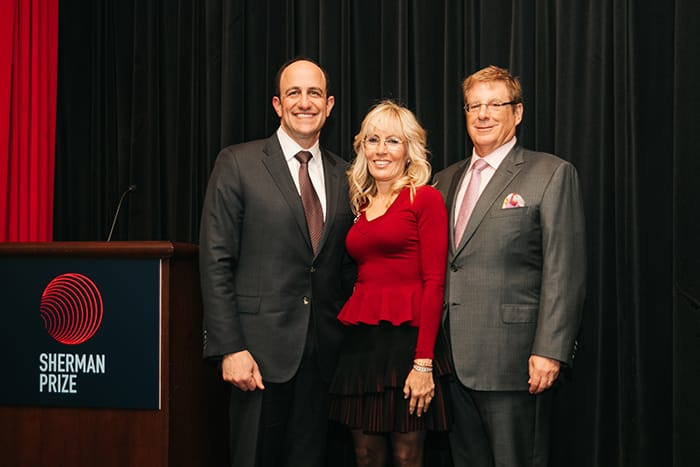 <p>Bruce and Cynthia Sherman with Dr. David Rubin</p>