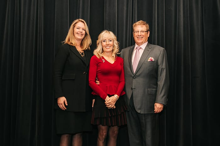 <p>Bruce and Cynthia Sherman with Dr. Eva Szigethy</p>