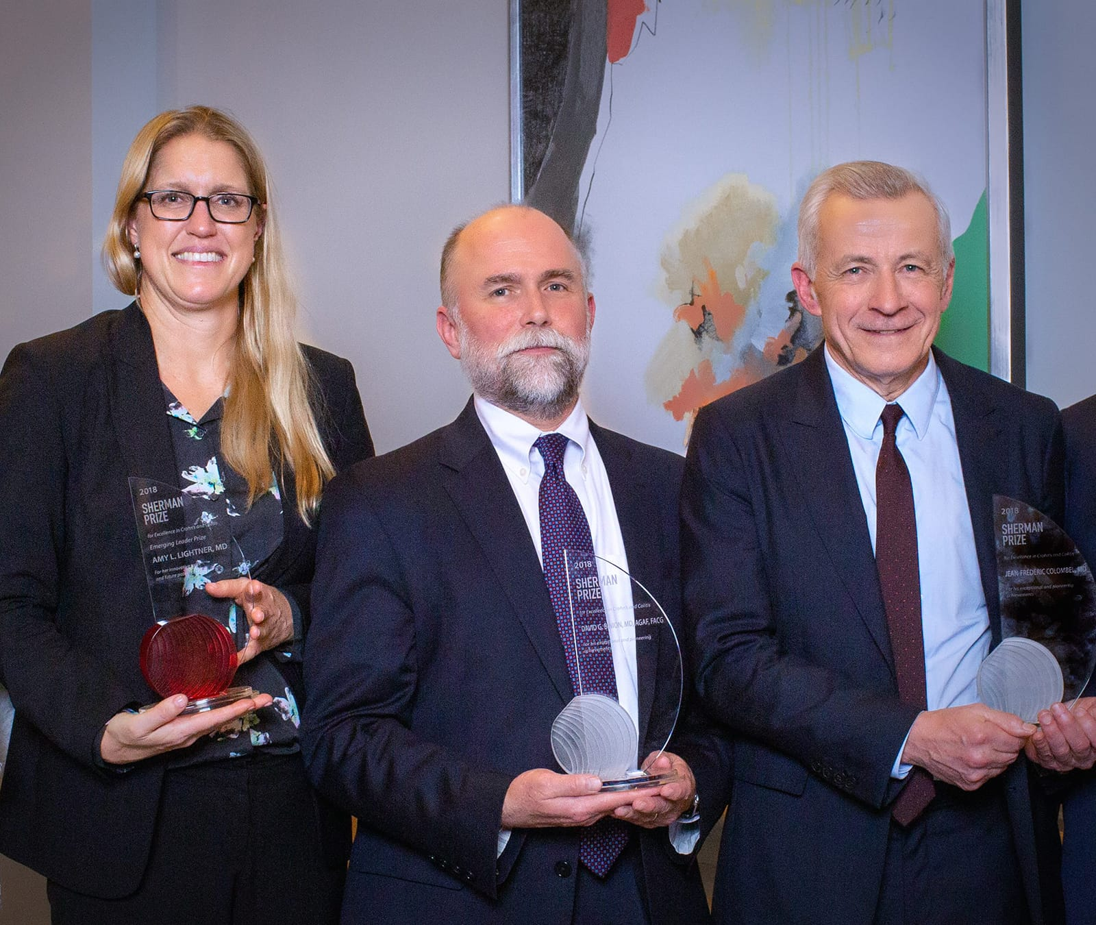 <p>Dr. Amy Lightner; Dr. David Binion; and Dr. Jean-Frederic Colombel</p>