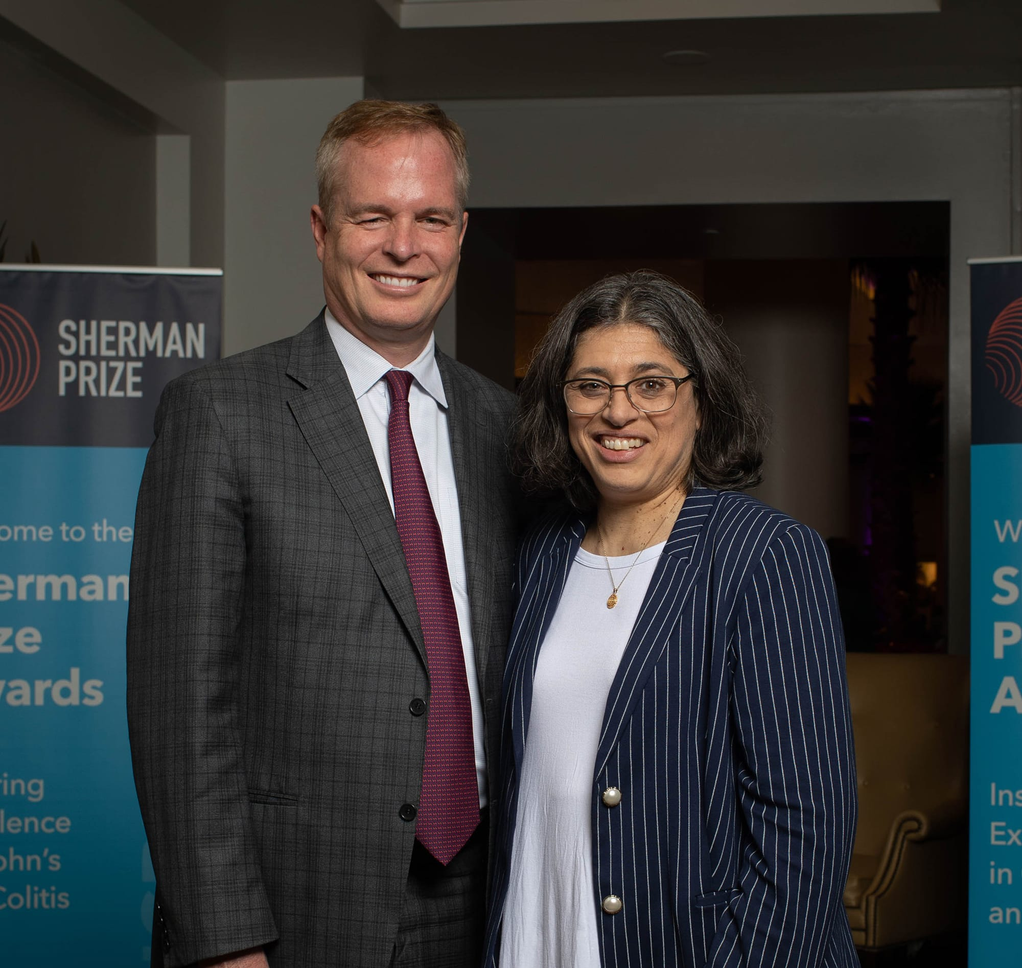 <p>2019 Sherman Prize Recipient Dr. William Sandborn and 2019 Selection Committee Member Dr. Sunanda Kane</p>