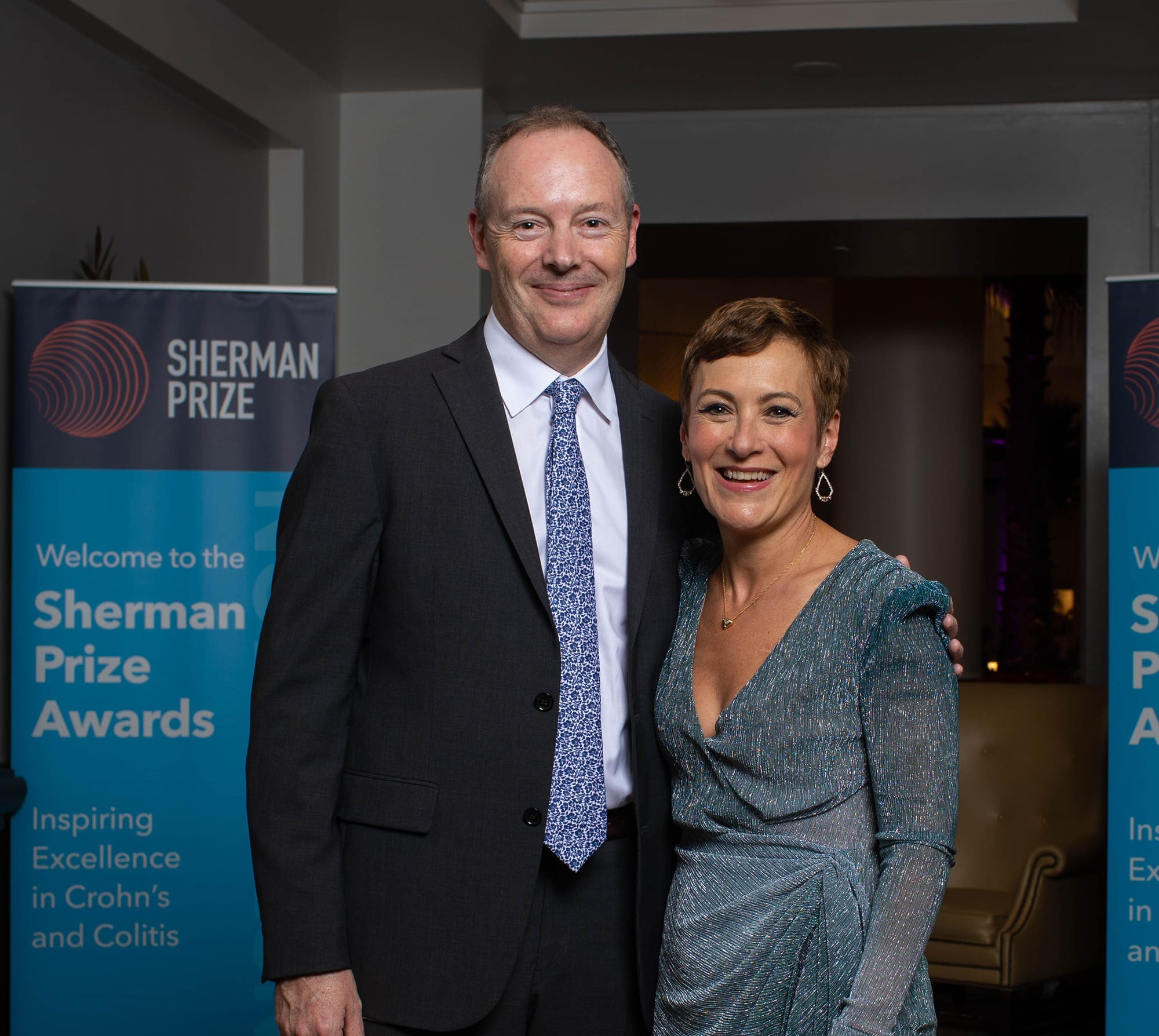 <p>2019 Selection Committee Chair Dr. Dermot McGovern and 2019 Sherman Prize Recipient Dr. Maria Abreu</p>