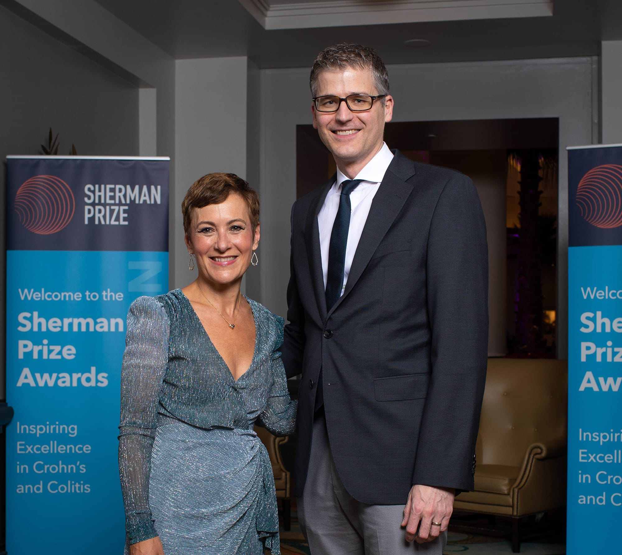 <p>2019 Sherman Prize Recipient Dr. Maria Abreu and 2019 Sherman Emerging Leader Prize Recipient Dr. Florian Rieder</p>