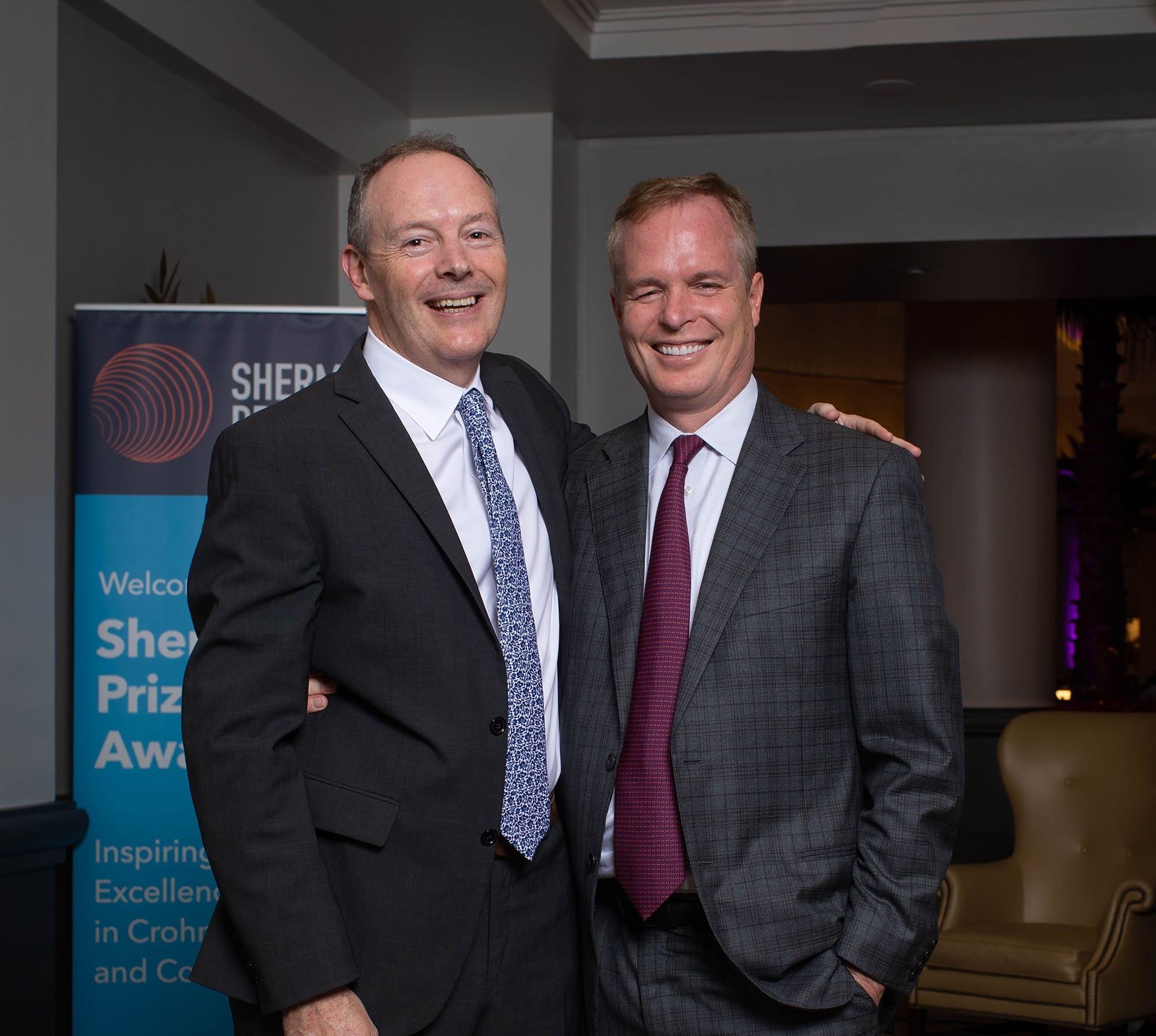 <p>2019 Selection Committee Chair Dr. Dermot McGovern and 2019 Sherman Prize Recipient Dr. William Sandborn</p>
