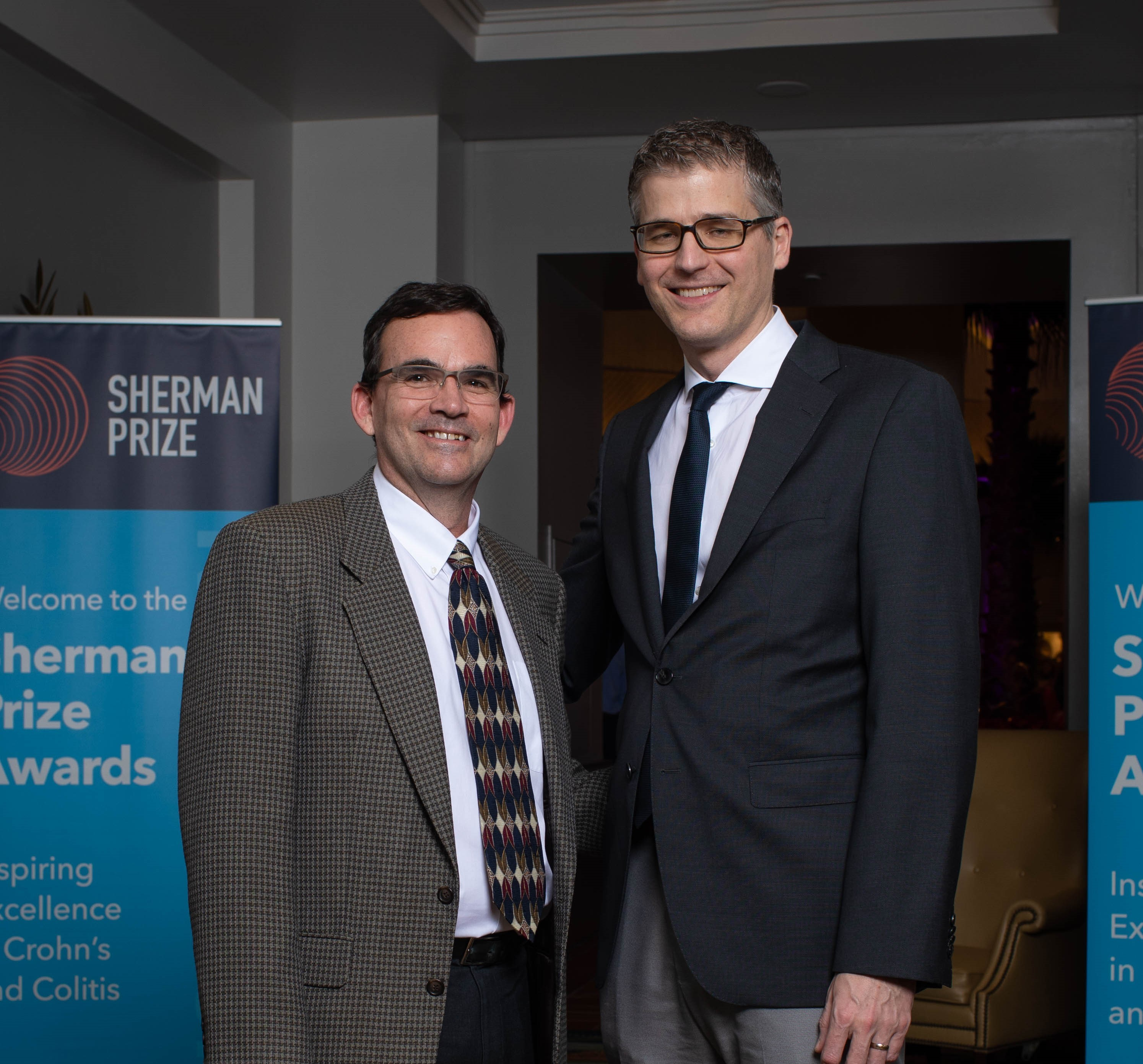 <p>2019 Selection Committee Member and 2017 Sherman Prize Recipient Dr. Lee Denson and 2019 Sherman Emerging Leader Prize Recipient Dr. Florian Rieder</p>